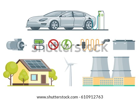 Ecology elements set with charging electric car engine battery solar panel windmill chimneys eco signs isolated vector illustration