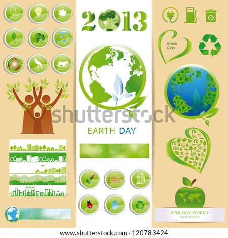 Ecology elements you can use on Earth Day - stock vector