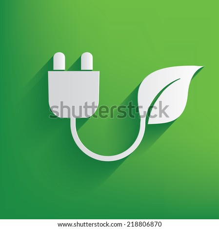 Ecology energy on green background,clean vector - stock vector