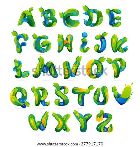 Ecology english alphabet letters with leaves and water drops set. Font style, vector design template elements. - stock vector