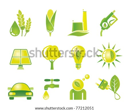 Ecology, environment and nature icons - vector icon set - stock vector
