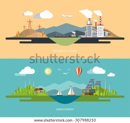 Ecology, environment, green energy, Eco life, emissions, nature pollution concept illustrations set in flat design style - stock vector