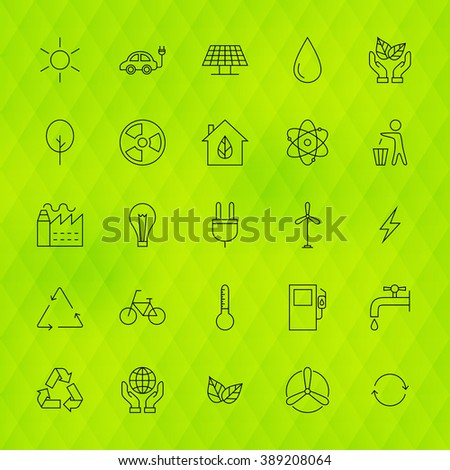 Ecology Environment Line Icons Set over Polygonal Background. Vector Set of Modern Thin Outline Go Green Nature Items.