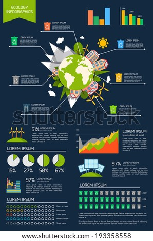 Ecology environmentally friendly energy planet infographic set with graphs and charts vector illustration - stock vector