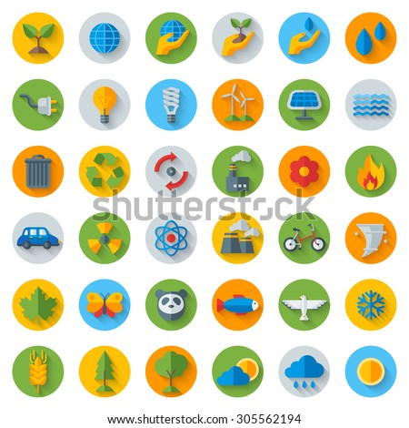 Ecology Flat Icons on Circles with Shadow. Set Isolated on White. Vector illustration. Hand with sprout, hand with water drop. Solar energy sign, wind energy sign, wild animals. Save the planet. - stock vector
