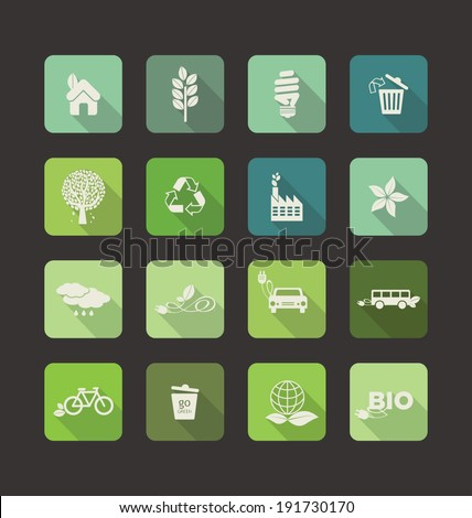 Ecology Flat Icons with long shadow - stock vector