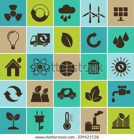 Ecology flat material design concept with ecology, environment, green energy and pollution icons set - stock vector