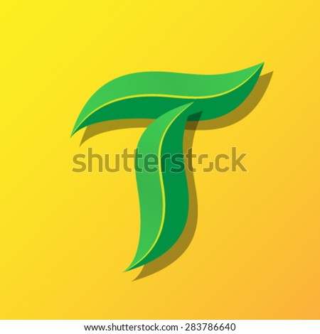 Ecology font from leaves, letter T. - stock vector