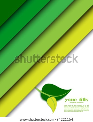 ecology green background card with leaf - stock vector