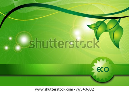 ecology green background with leaves - stock vector
