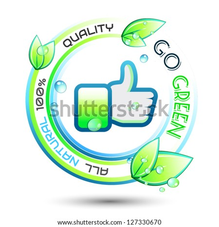 Ecology Green conceptual background with green related slogan, circles and stunning wet leaves. Ideal for environmental eco related posters. - stock vector