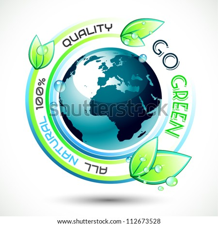Ecology Green conceptual background with green related slogan, 3D earth and stunning wet leaves. Ideal for environmental eco related posters. - stock vector
