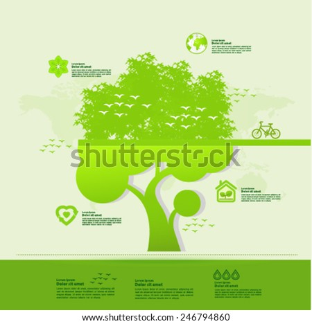 Ecology green graphic vector illustration