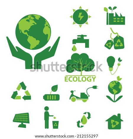ecology green icon set