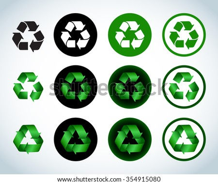 Ecology green icons recycle icons, signs set. Colorful and flat versions. Isolated vector illustrations. - stock vector