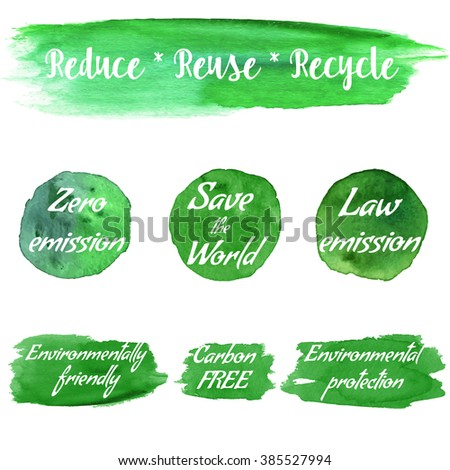 Ecology green logotypes on abstract watercolor paint blots, stains and splash isolated on a white background. Vector watercolor ecology themed icon set. Recycle green environmental concept vector. - stock vector