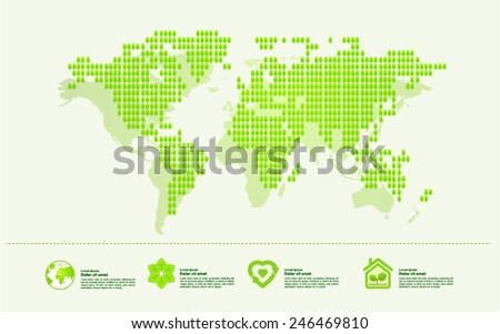 Ecology green nature world map