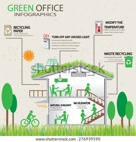 Type renewable energy info graphics background stock for Green products for the home