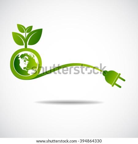 Ecology green save  earth concept - stock vector