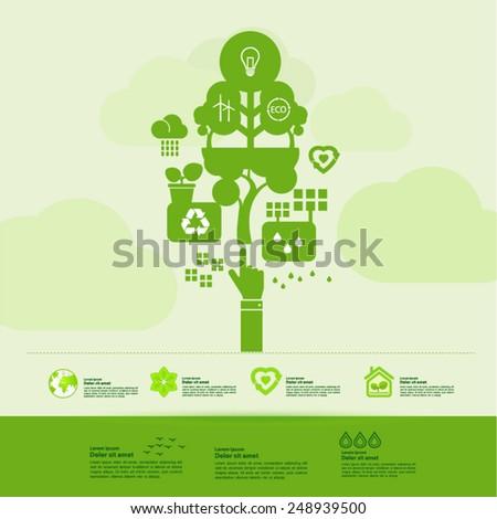 Ecology green thinking icon set - stock vector
