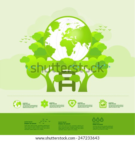 Ecology  green world vector