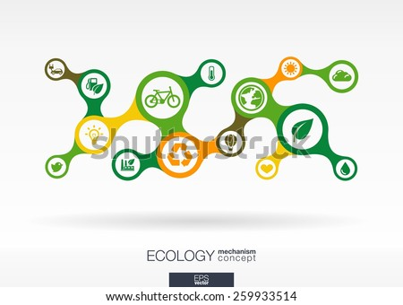 Ecology. Growth abstract background with connected metaball and integrated icons for eco friendly, energy, environment, green, recycle, bio and global concepts. Vector interactive illustration. - stock vector