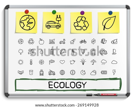 Ecology hand drawing line icons. Vector doodle pictogram set: sketch sign illustration on white marker board with paper stickers; energy, eco friendly , environment, tree, green, recycle, bio, clean - stock vector