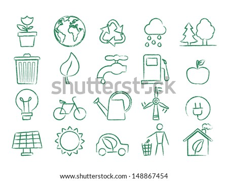 Ecology hand drawn icons