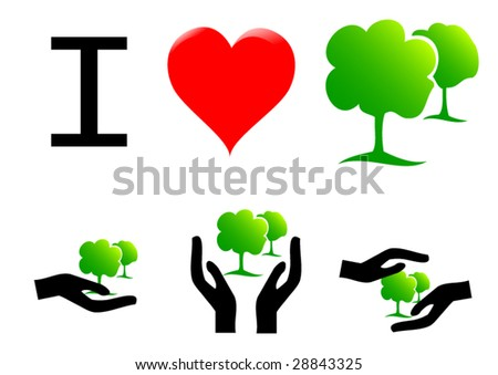 ecology hands set - stock vector