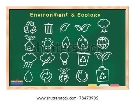 ecology icon drawings on blackboard vector - stock vector