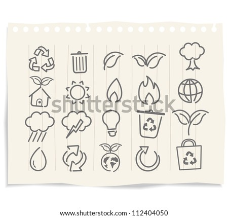 ecology icon drawings on grunge paper vector - stock vector