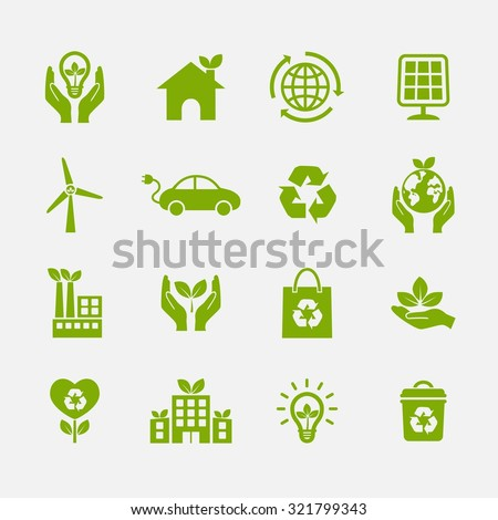 Ecology icon. Ecological icons. Vector Illustration. EPS10
