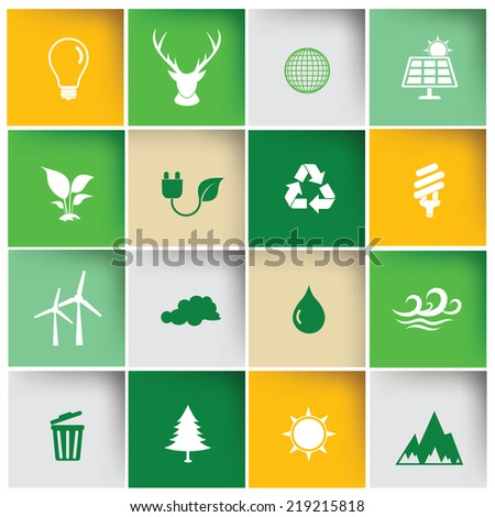Ecology icon set,clean vector - stock vector