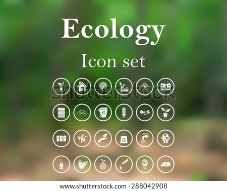 Ecology icon set. EPS 10 vector illustration with mesh and without transparency. - stock vector