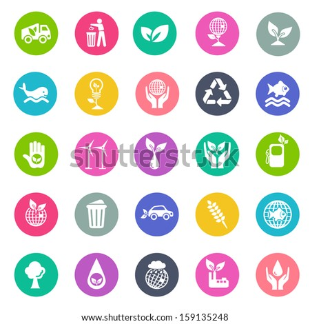 Ecology icon set- flat design - stock vector