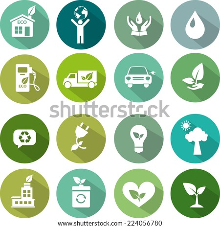 Ecology icon set flat design - stock vector