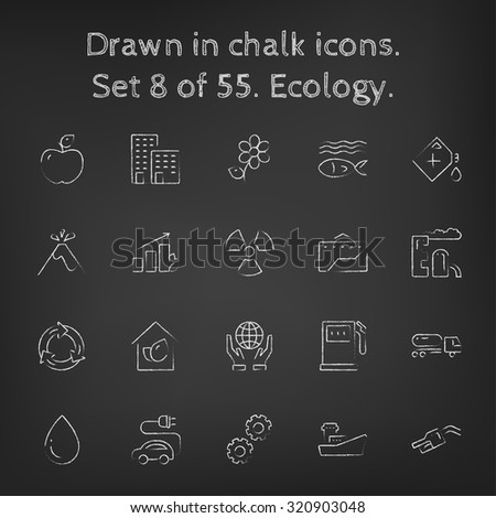 Ecology icon set hand drawn in chalk on a blackboard vector white icons on a black background. - stock vector