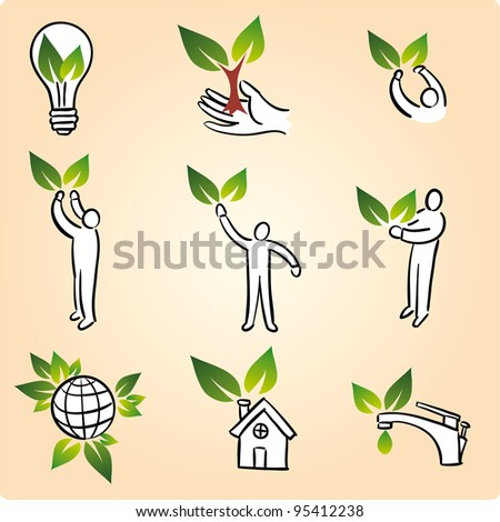 Ecology icon set with and without human - stock vector