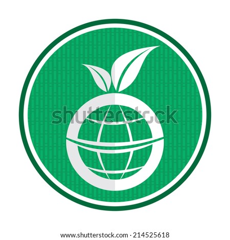 Ecology icon with abstract globe and leaf