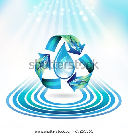 Ecology icon with drop and dolphins, recycle water, vector illustration - stock vector