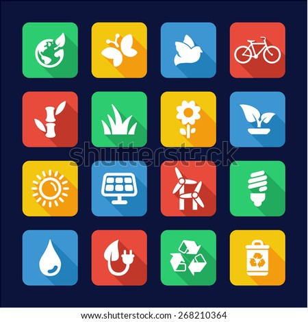 Ecology Icons Flat Design - stock vector