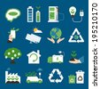 ecology icons flat design, vector - stock vector