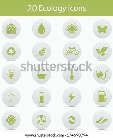Ecology icons,Green version,vector