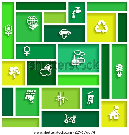 Ecology icons in flat design, vector illustration - stock vector