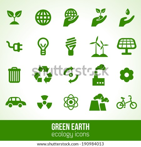 Ecology icons isolated on white. Vector illustration.