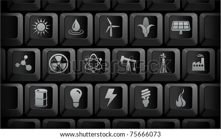 Ecology Icons on Black Computer Keyboard Buttons Original Illustration