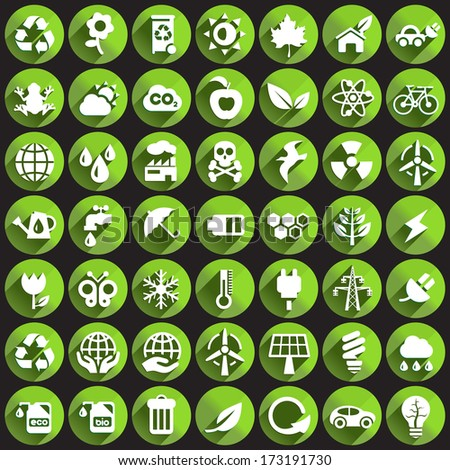 Ecology Icons on Circular Buttons.