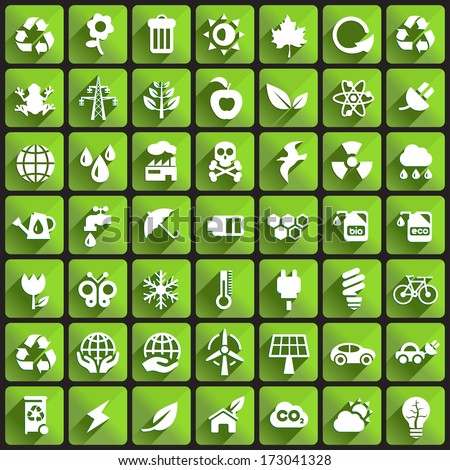 Ecology Icons on Square Buttons. - stock vector