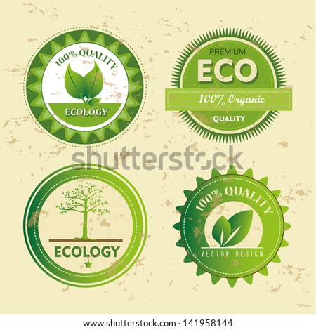 ecology icons over vintage background vector illustration - stock vector