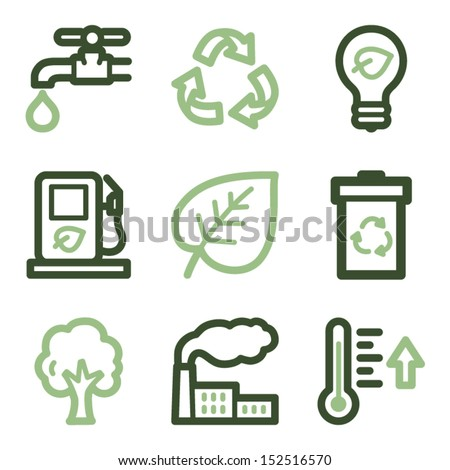 Ecology icons set 1, green line contour series - stock vector